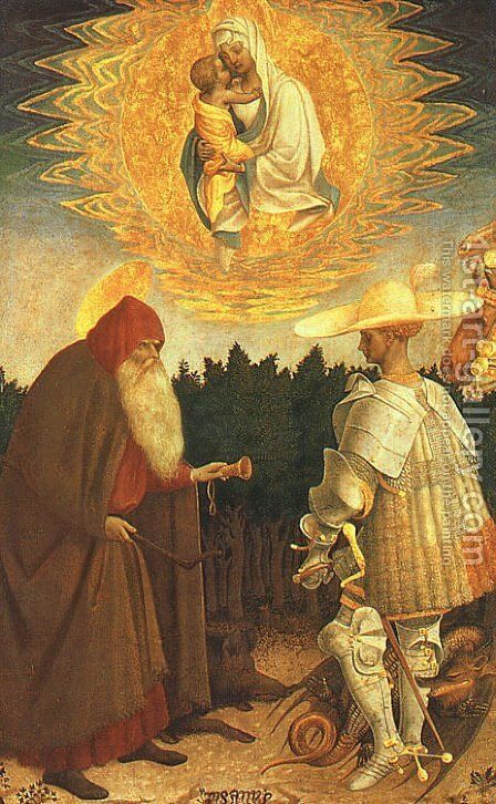 The Virgin and Child with Saints George and Anthony Abbot by Antonio Pisano (Pisanello) - Reproduction Oil Painting