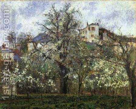 Spring at Pontoise, Vegetable Garden and Trees in Blossom by Camille Pissarro - Reproduction Oil Painting
