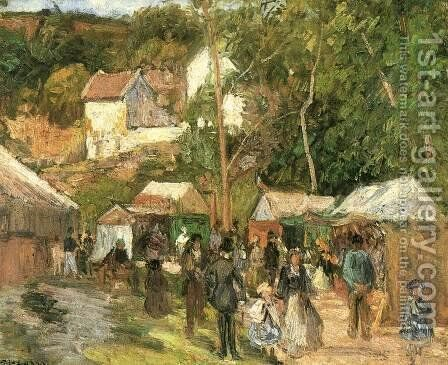 Fair at the Hermitage near Pontoise by Camille Pissarro - Reproduction Oil Painting