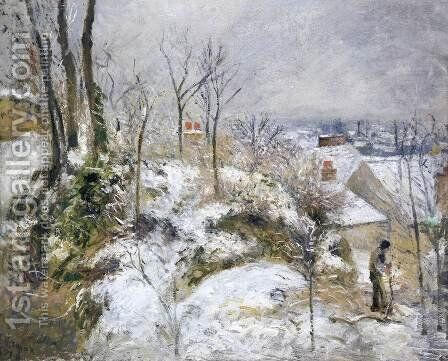 Rabbit Warren at Pontoise, Snow by Camille Pissarro - Reproduction Oil Painting