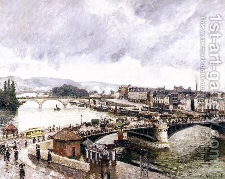 Le Grand Pont, Rouen, Effect of Rain by Camille Pissarro - Reproduction Oil Painting