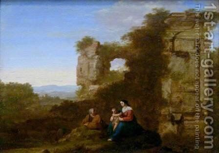 Rest on Flight to Egypt by Cornelis Van Poelenburgh - Reproduction Oil Painting