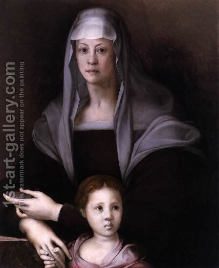 Maria Salviati with Giulia de' Medici by (Jacopo Carucci) Pontormo - Reproduction Oil Painting