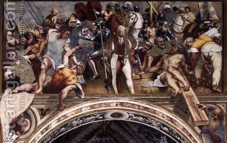 Christ Nailed to the Cross by (Giovanni Antonio de' Sacchis) Pordenone - Reproduction Oil Painting