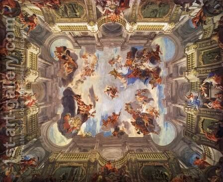 Deeds of Hercules and his Apotheosis by Andrea Pozzo - Reproduction Oil Painting