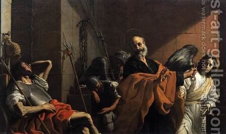 The Release of St Peter from Prison by Mattia Preti - Reproduction Oil Painting