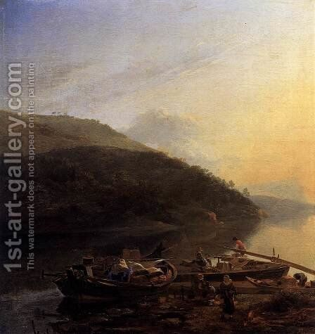 River Scene with Loaded Barges by Adam Pynacker - Reproduction Oil Painting