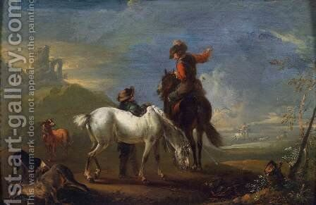 After the Hunt by August Querfurt - Reproduction Oil Painting