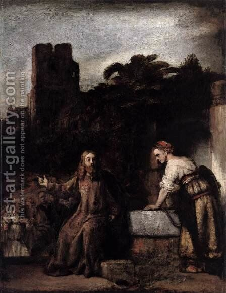 Christ and the Woman of Samaria 2 by Rembrandt - Reproduction Oil Painting