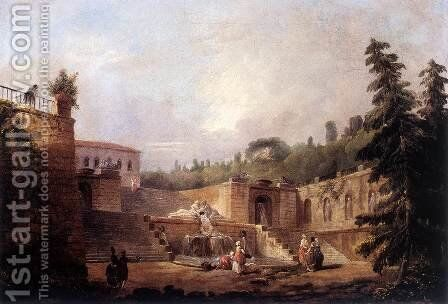 Fountain on a Palace Terrace by Hubert Robert - Reproduction Oil Painting