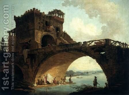 The Ponte Solario by Hubert Robert - Reproduction Oil Painting