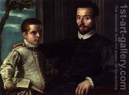 Portrait of a Nobleman with his Son by Domenico Tintoretto (Robusti) - Reproduction Oil Painting