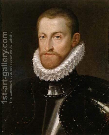 Emperor Rudolf II in Armour by Martino Rota Dalmatia - Reproduction Oil Painting