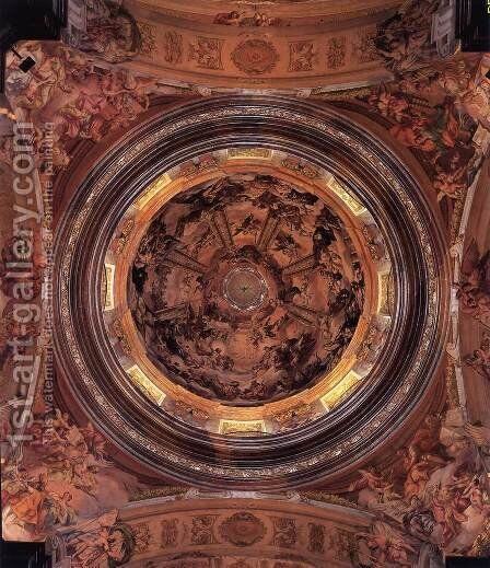 Decoration of the dome by Johann Michael Rottmayr - Reproduction Oil Painting