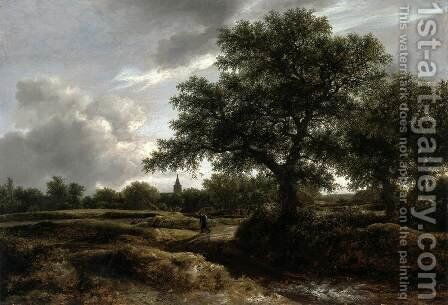 Landscape with a Village in the Distance by Jacob Van Ruisdael - Reproduction Oil Painting