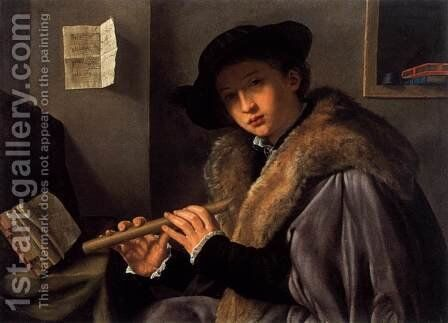 The Flute Player by Giovanni Girolamo Savoldo - Reproduction Oil Painting