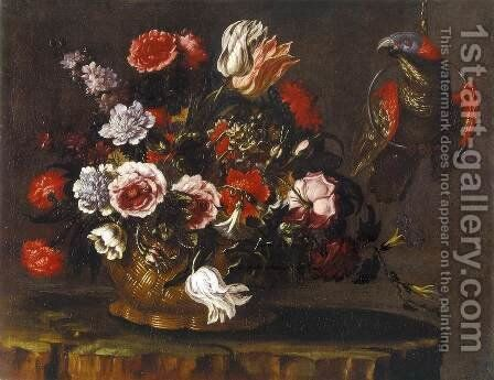 Basket of Flowers with Parrot by Andrea Scacciati - Reproduction Oil Painting