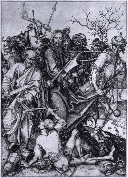 Betrayal and Capture of Christ by Martin Schongauer - Reproduction Oil Painting