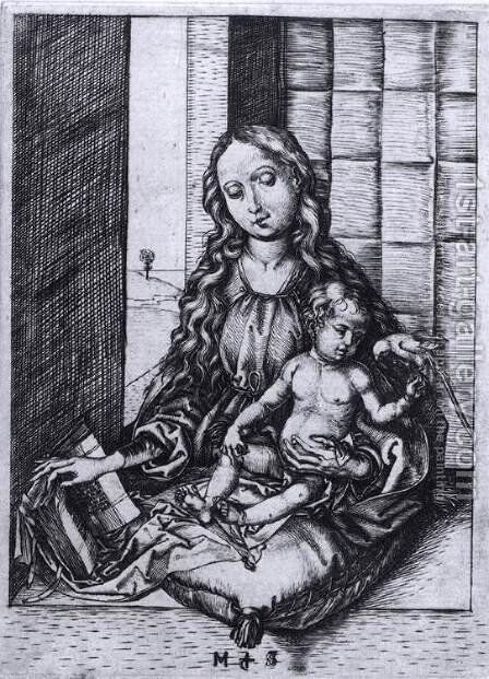Madonna and Child with the Parrot by Martin Schongauer - Reproduction Oil Painting