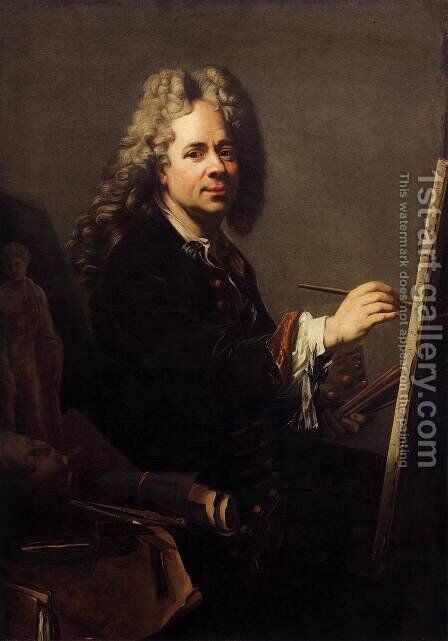Self-Portrait before the Easel by Jacques or Jakobus van Schuppen - Reproduction Oil Painting