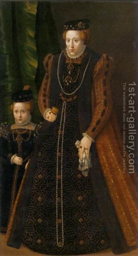 Archduchess Maria with Her Elder Daughter Maria Eleonore by Jacob Seisenegger - Reproduction Oil Painting