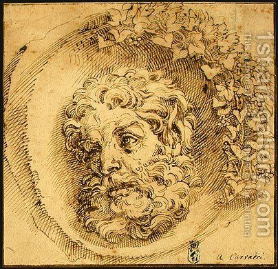 Head of a Faun in a Concave (roundel) c. 1595 by Agostino Carracci - Reproduction Oil Painting