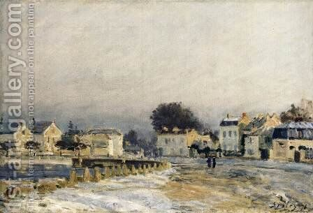 The Watering Place at Mary-le-Roi with Hoarfrost by Alfred Sisley - Reproduction Oil Painting