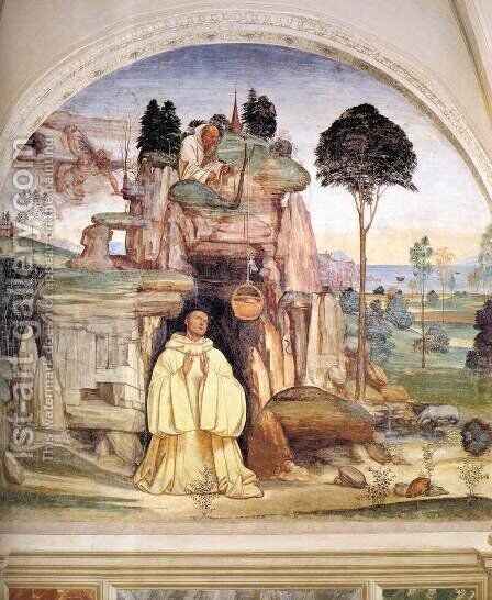 Life of St Benedict, Scene 5 The Devil Destroys the Little Bell by Il Sodoma (Giovanni Antonio Bazzi) - Reproduction Oil Painting
