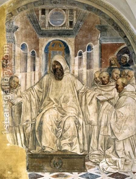 Benedict Presents the Olivetan Monks with His Rule by Il Sodoma (Giovanni Antonio Bazzi) - Reproduction Oil Painting