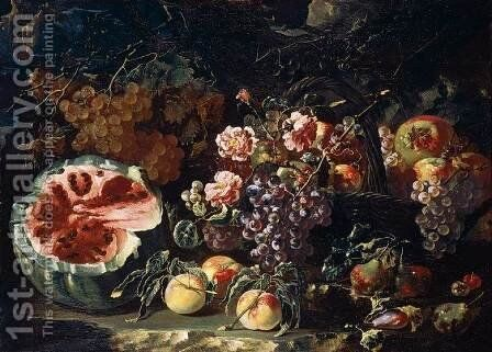 Still-Life with Fruit and Roses by Bartolomeo  Spadino - Reproduction Oil Painting