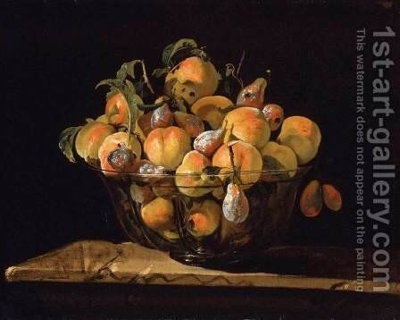 Peaches and Pears in Glass Bowl by Giovanni Paolo Castelli  (lo Spadino) - Reproduction Oil Painting