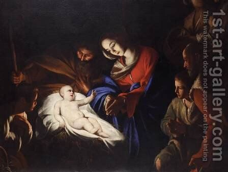 Adoration of the Shepherds by Massimo Stanzione - Reproduction Oil Painting