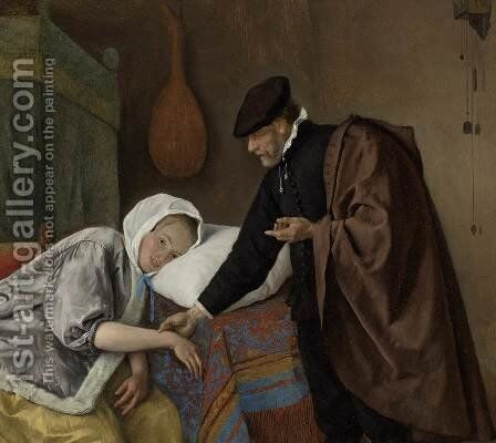 The Sick Woman (detail) by Jan Steen - Reproduction Oil Painting