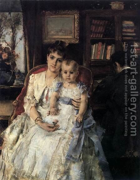 Family Scene by Alfred Stevens - Reproduction Oil Painting