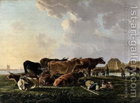 Landscape with Cattle by Jacob van Strij - Reproduction Oil Painting