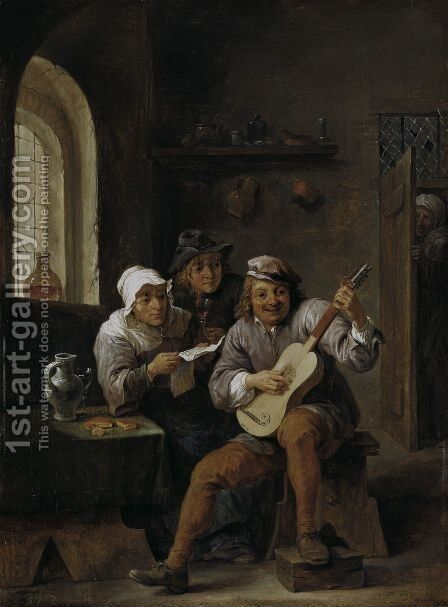 Peasants Making Music by David The Younger Teniers - Reproduction Oil Painting