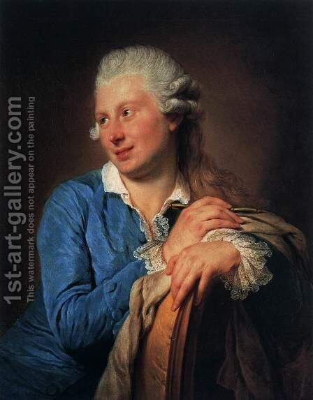 Portrait of Jacob Philipp Hackert by Anna Dorothea Therbusch - Reproduction Oil Painting