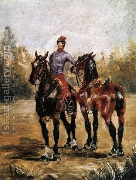 Two Horses with Soldier by Toulouse-Lautrec - Reproduction Oil Painting