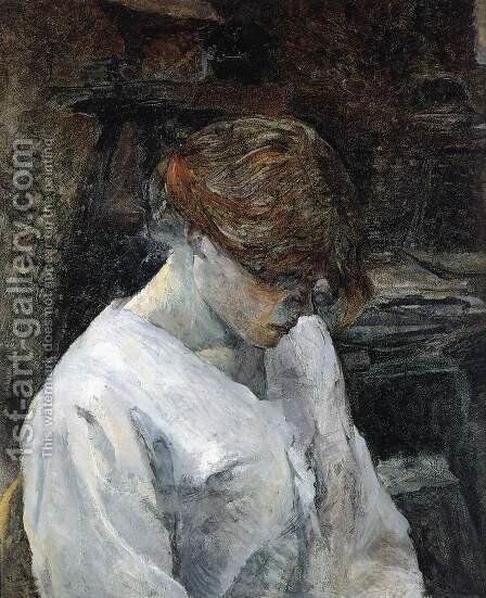 The Red-Head in a White Blouse by Toulouse-Lautrec - Reproduction Oil Painting