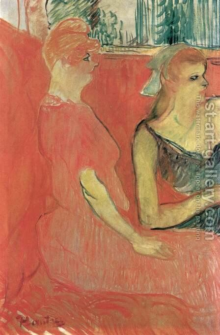 In the Salon of the Rue des Moulins by Toulouse-Lautrec - Reproduction Oil Painting