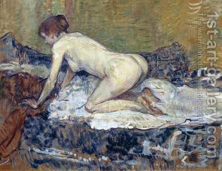 Red-Headed Nude Crouching by Toulouse-Lautrec - Reproduction Oil Painting