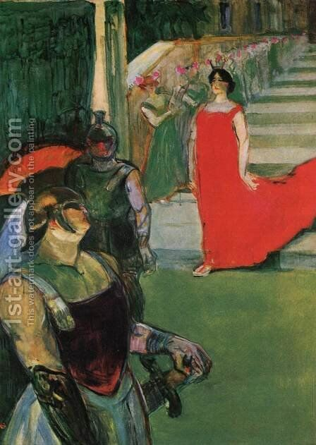 Messalina Descends the Stairs Lined by Female Figures by Toulouse-Lautrec - Reproduction Oil Painting