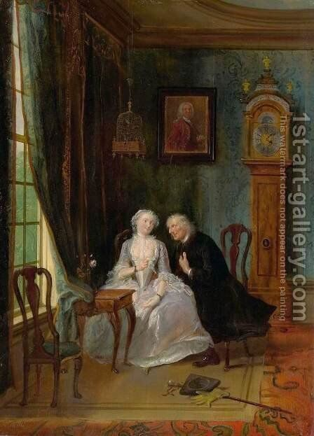 Love Scene by Cornelis Troost - Reproduction Oil Painting