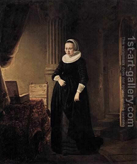 Young Woman in an Interior by Dutch Unknown Masters - Reproduction Oil Painting