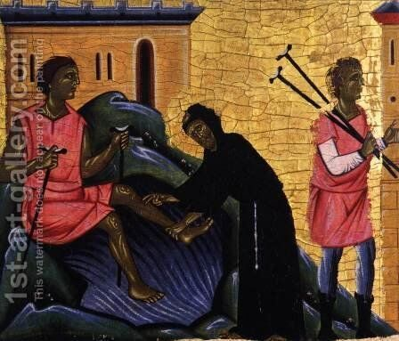 St Francis and Eight Scenes from his Life (detail) 4 by Italian Unknown Masters - Reproduction Oil Painting
