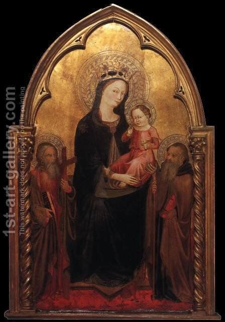 Madonna Enthroned with Saints by Italian Unknown Masters - Reproduction Oil Painting