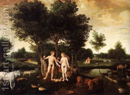 Paradise with the Creation of Adam and the Fall of Man by Dutch Unknown Masters - Reproduction Oil Painting