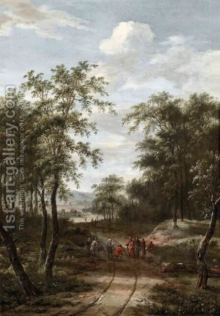 Wooden Landscape with Christ and the Apostles by Dionys Verburgh - Reproduction Oil Painting