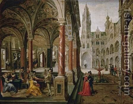 Palace with Musicians by Hans Vredeman de Vries - Reproduction Oil Painting