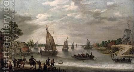 River Scene with Boats by Adam Willaerts - Reproduction Oil Painting